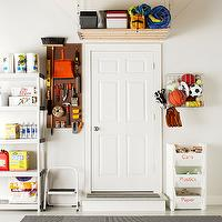 Martha Stewart - garages - white, stacked, plastic, recycling, bins, hanging shelf, white, step, ladder, white, utility, shelf, tools, organizer, peg board,