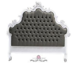 Beds/Headboards - Liv-Chic Furniture ���?? Milania Tufted Headboard - tufted, gray, rococo, headboard