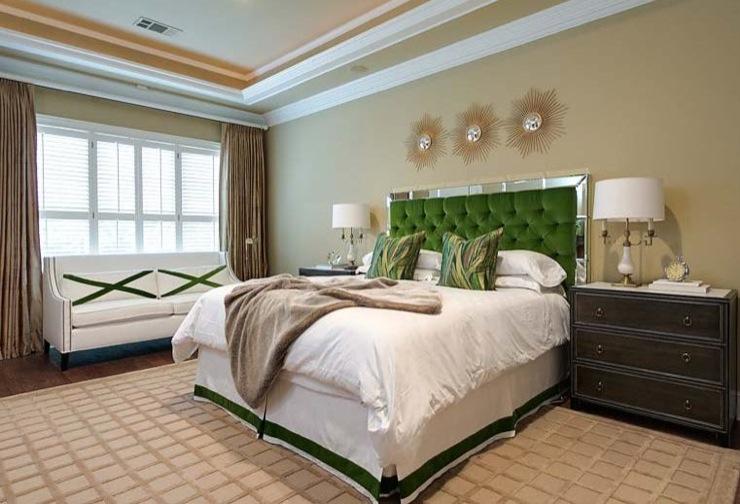Green Tufted Headboard Transitional Bedroom Ej Interiors