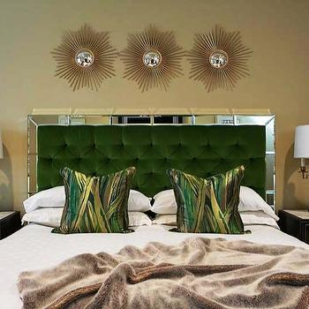 EJ Interiors - bedrooms - green, green headboard, green pillows, white bedsheets, neutral walls, mirrored headboard, green and white, mirrored bed, mirror headboard, green tufted headboard, green velvet headboard, green velvet tufted headboard,
