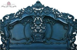 Beds/Headboards - Liv-Chic Furniture Blue Lagoon Rococo Headboard - blue lagoon, rococo, headboard