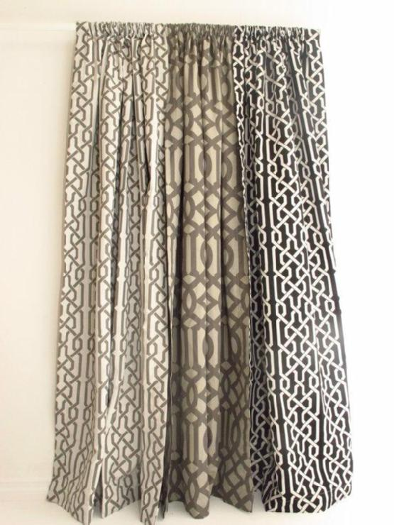 Window Treatments - Pair of Decorative Designer Grommet Drapery Panels84 by nenavon - gray, trellis, drapes