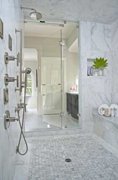 Suzie: Jennifer Davis Interior Design  Huge walk-in shower with marble basketweave tiles floor, ...