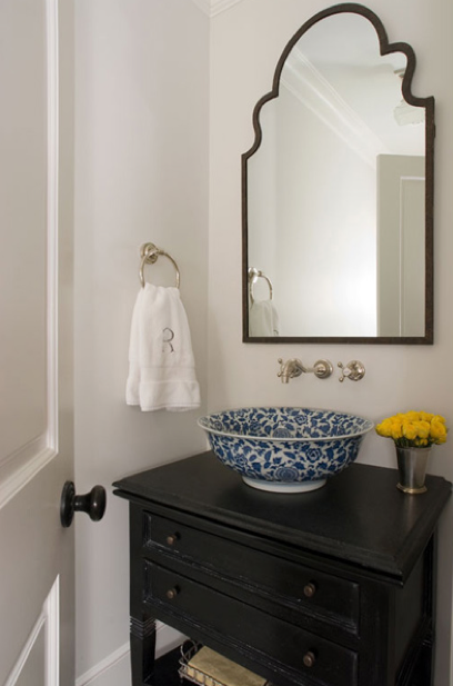 Jennifer Davis Interior Design - bathrooms - Brayden Arch Mirror, repurposed, black, chest, bathroom vanity, blue, bowl, vessel, sink, brushed nickel, wall-mount, faucet, kit, antique bowl sink,