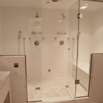Angie Gren Interiors - bathrooms - frameless glass shower, mosaic, marble, tiles, shower floor, subway tiles shower surround, white bathroom vanity with marble countertop, his and her shower heads, shower for 2,