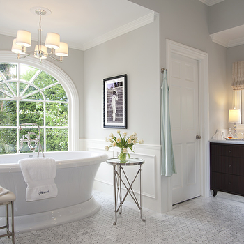 Jennifer Davis Interior Design - bathrooms - gray, walls, chair rail, wainscoting, freestanding, tub, directoire, table, polished nickel, directoire, table, marble, basketweave, tiles, floor, espresso, stained, extra-wide, bathroom vanity, marble, countertop, Waterworks Easton Stool, Global Views Directoire Table-Nickel & Mirror,
