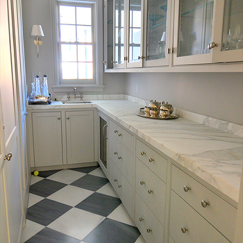 Cote de Texas - kitchens - galley, butler's pantry, white, black, checkered, tiles, floor, gray, glass-front, kitchen cabinets, marble, countertops, narrow butlers pantry, small butlers pantry, checkered tiles, checkered floor, checkered tile floor, butlers pantry cabinets, Bryant Sconce,