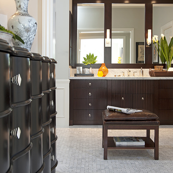 Jennifer Davis Interior Design - bathrooms - wainscoting, marble, tiles, floor, brown, leather, stool, nailhead trim, espresso, stained, extra-wide, bathroom vanity, marble, countertop, espresso cabinets, espresso bathroom cabinets,