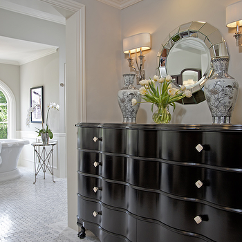 Jennifer Davis Interior Design - bathrooms - gray, walls, glossy, b lack, chest, directoire, table, freestanding, tub, marble, basketweave, tub, chair rail, wainscoting, polished nickel, chandelier, black chest, black chest of drawers, Two's Company  Ainsworth Round Beveled Wall Mirror, Waterworks Easton Stool, Global Views Directoire Table-Nickel & Mirror,
