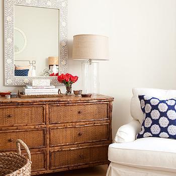 Bone Inlay Mirror, Transitional, bedroom, Jenny Wolf Interiors