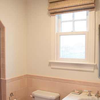 Pink Subway Tile, Transitional, bathroom, Angie Gren Interiors