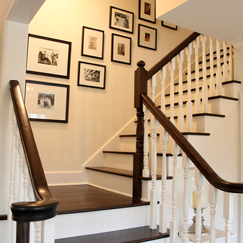 Angie Gren Interiors - entrances/foyers - staircase, art gallery, black, gallery frames, photo walls, photo wall collage, photo wall ideas, family photo walls,