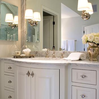 Jennifer Davis Interior Design - bathrooms - extra-wide, curvy, white, bathroom, cabinet, vanity, marble, countertops, mercury glass, vase, curved vanity, curved bathroom vanity, curved cabinets, curved bathroom cabinets, Restoration Hardware Lugarno Sconce, crystal knobs,