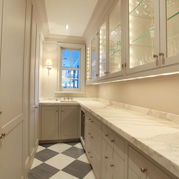 Cote de Texas - kitchens - galley, butler's pantry, gray, walls, gray, kitchen cabinets, marble, countertops, butlers pantry cabinets, butler pantry cabinets, gray butler's pantry cabinets, gray butler pantry cabinets, glass front cabinets, glass front butler pantry cabinets, glass front butlers pantry cabinets, light gray cabinets, light gray butlers pantry cabinets, narrow butlers pantry, checkered tiles, checkered floor, checkered tiled floor,