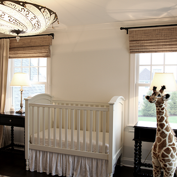Angie Gren Interiors - nurseries - classic, white, crib, black, nightstands, bamboo, roman shades, pinch pleat, sand, beige, drapes, gray, mirror, toy, giraffe, gender neutral nursery, Melissa & Doug Plush Giraffe,