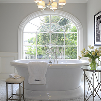 Jennifer Davis Interior Design - bathrooms - gray, walls, chair rail, wainscoting, freestanding, tub, directoire, table, marble, basketweave, tiles, floor, polished nickel, chandelier, Waterworks Easton Stool, Global Views Directoire Table-Nickel &amp; Mirror,