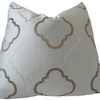 Pillows - Decorative Designer Pillow Cover18x18Steel Blue and by nenavon - steel, blue, chocolate, trellis, pillow