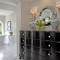 Jennifer Davis Interior Design - bathrooms - gray, walls, glossy, b lack, chest, directoire, table, freestanding, tub, marble, basketweave, tub, chair rail, wainscoting, polished nickel, chandelier, Two's Company  Ainsworth Round Beveled Wall Mirror, Waterworks Easton Stool, Global Views Directoire Table-Nickel & Mirror,
