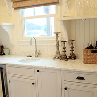 Angie Gren Interiors - kitchens - cottage, beadboard, backsplash, crisp, white, kitchen cabinets, oil rubbed bronze, knobs, pulls, marble, countertops, bamboo, roman shades, shelves, beadboard backsplash, beadboard kitchen, kitchen beadboard, white beadboard, white beadboard backsplash, beadboard kitchen, beadboard kitchen backsplash, white beadboard kitchen, beadboard kitchen walls,