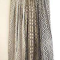 Window Treatments - Pair of Decorative Designer Grommet Drapery Panels84 by nenavon - gray, trellis, drapes