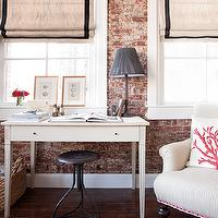 Jenny Wolf Interiors - living rooms - exposed brick wall, natural linen, roman shade, black, ribbon, trim, white, desk, industrial, stool, white, red, coral, pillow, rolled arm, stripes, chair, caster legs, nailhead trim, grossgrain ribbon roman shade, grossgrain ribbon roman shades,