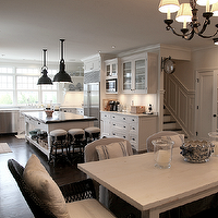 Cote de Texas - dining rooms - white, farmhouse, turned legs, dining table, french, grain  sack, pillows, black, wicker, captain, dining chairs, natural linen, slipper chairs, bench, iron, chandelier,