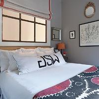 Jenny Wolf Interiors - bedrooms - blue, pink, suzani, blanket, quilt, monogrammed bolster, pillow, gray, walls, square, beveled, antique, mirrors, monogrammed, bolster, pillow, natural linen, roman shade, red, ribbon, trim, silhouette, prints, Crate & Barrel Dubois Mirror, West Elm Nailhead Upholstered Headboard,