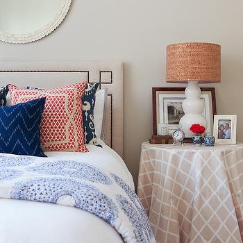 Jenny Wolf Interiors - bedrooms - white, capiz, scalloped, round, mirror, white, gourd, lamp, round, skirted, table, nightstand, blue, ikat, pillows, serena and lily headboard, octavia headboard, skirted nightstand, skirted bedside table, Serena & Lily Octavia Headboard,