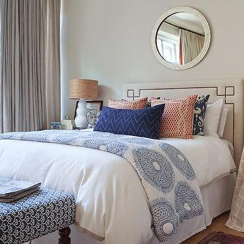 Jenny Wolf Interiors - bedrooms - gray, walls, gray, drapes, blue, ikat, pillows, white, gourd, lamps, skirted, tables, mismatched, nightstands, blue, bench, octavia headboard, Serena & Lily Octavia Headboard,