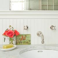 Jenny Wolf Interiors - bathrooms - green, blue, walls, chair rail, beadboard, polished nickel, wall mount, faucet kit, marble, countertop, beadboard backsplash, beadboard bathroom, bathroom beadboard, white beadboard, white beadboard backsplash,