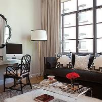 Jenny Wolf Interiors - living rooms - black, velvet, high back, sofa, nailhead trim, charcoal gray, gray, diamonds, rug, flokati, rug, silver, parsons, desk, black, mirror, gray, drapes, CB2 Clear Peekaboo Coffee Table, Worlds Away Gold Leaf Bamboo Iron Floor Lamp Base, Ballard Designs Macau Armchair, Greek Key Fretwork Throw Pillow, Reflections Cotton Canvas Pillow with Mirror Embroidery, West Elm Parsons Metal Desk,