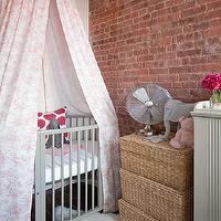 Jenny Wolf Interiors - nurseries - hot pink, ikat, pillow, gray, crib, pink, canopy, Ikea, pelt, stacked, woven, storage, baskets, Ikea Rens,