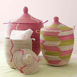 Decor/Accessories - Senegalese Storage Baskets - Pink | Serena & Lily - Senegalese, storage, baskets