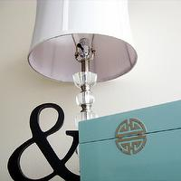 bedrooms - crystal lamp, ampersand, lacquer box, robin&#039;s egg blue, Tiffany blue, homesense, bedroom, bedside table, black, white, blue, modern,