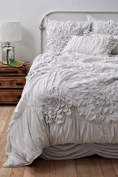 Bedding - Georgina Duvet Cover, Light Grey - Anthropologie.com - georgina, bedding, light gray