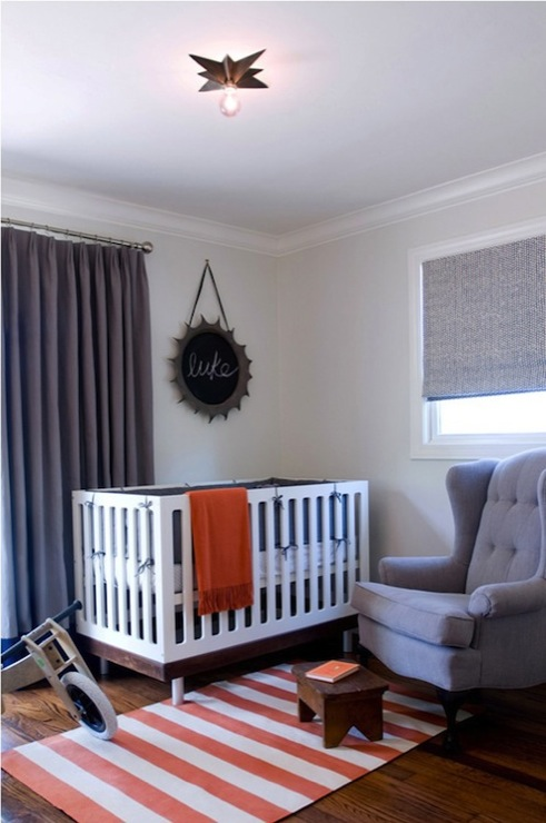 Jute interior Design - nurseries - blue, roman shade, vintage, wingback, tufted, blue, chair, white, red, stripe, chair, white, modern, crib, orange, throw, light gray, walls, blue, cotton, drapes, boy nursery, boys nursery, gray boys nursery, gray curtains,