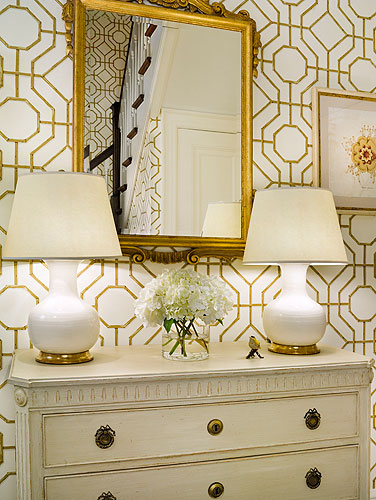 Sandra Morgan Interiors - entrances/foyers - Cowtan & Tout Bamboo Wallpaper, gilt, mirror, white, gourd, lamps, ivory, vintage, chest, cowtan and tout wallpaper, bamboo wallpaper,