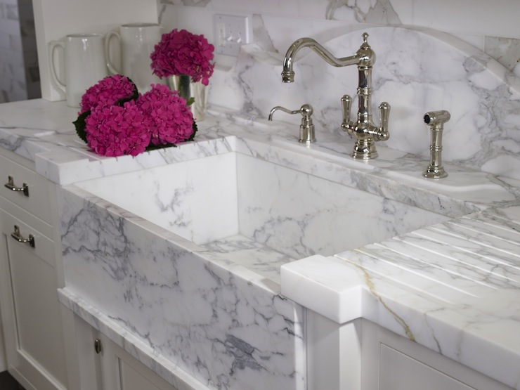 White Marble Sink - Transitional - kitchen - St. Charles of New York