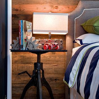 Rustic boy's room with industrial crank table nightstand, gray linen headboard ...