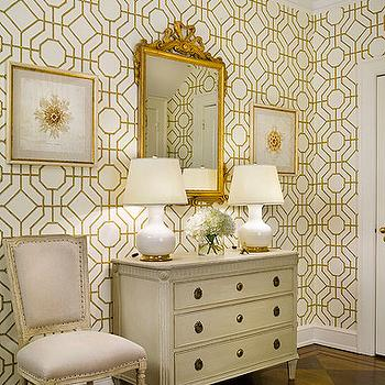 Sandra Morgan Interiors - entrances/foyers - gilt, mirror, white, gourd, lamps, ivory, vintage, chest, square back, French, chairs, cowtan and tout wallpaper, Cowtan & Tout Bamboo Wallpaper,