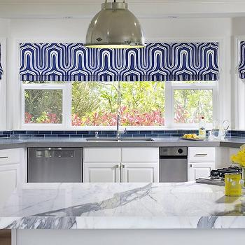 Jute interior Design - kitchens - industrial, pendants, blue, glass, subway tiles, backsplash, white, shaker, kitchen cabinets, gray, quartz, countertops, kitchen island, calcutta, marble, countertop, blue, roman shades, blue subway tile, blue subway tile backsplash, angled kitchen island,
