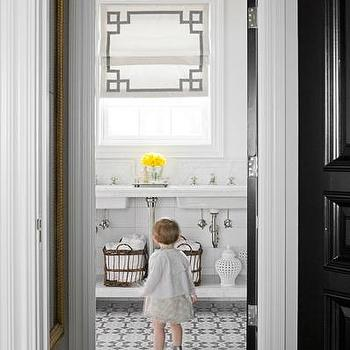 bathrooms - pale, blue, walls, marble, double, washstand, mosaic, tiles, floor, white, roman shade, gray, Greek key, trim, glossy, black, door, woven, baskets, roman shades, black and white roman shades, white and black roman shades, greek key roman shades,