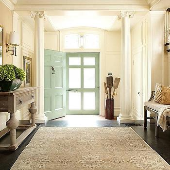 Hudson Interior Designs - entrances/foyers - Greek, columns, grey, emperor, bench, weathered oak, console, table, gold, mirror, seafoam, green, door, mint green, mint green door, interior greek columns, foyer columns, foyer greek columns, David Hicks La Fiorentina,