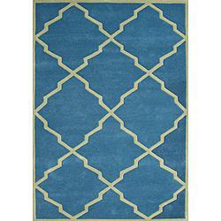 Rugs - Horizon Handmade Aqua New Zealand Blend Wool Rug (8x10) | Overstock.com - blue, trellis, rug