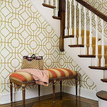 Sandra Morgan Interiors - entrances/foyers - orange, yellow, French, bench, Louis Vuitton, cowtan and tout wallpaper, bamboo wallpaper, Cowtan & Tout Bamboo Wallpaper,