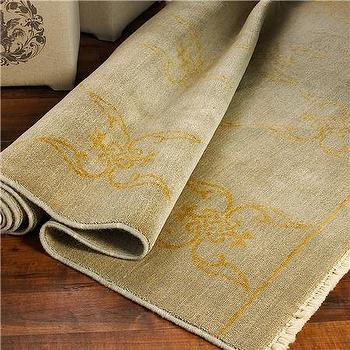 Rugs - Sage and Tan French Medallion Oushak Rug - Shades of Light - silver, gray, gold french, oushak, rug