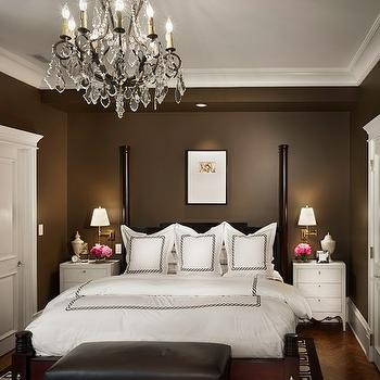 Rugo / Raff Ltd. Architects - bedrooms - chocolate brown, walls, bronze, chandelier, poster, bed, white, nightstands, hotel, shams, duvet, bedding, brown, leather, bench, nailhead, trim, bronze, chandelier, brass, sconces, brown bedroom, white brown bedroom, chocolate brown bedroom,