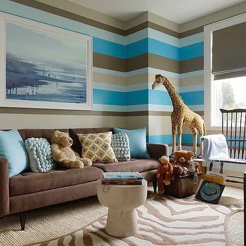 Jute interior Design - boy's rooms - Benjamin Moore - Texas Leather - gray, roman shade, brown, tan, blue horizontal, stripes, wall, jute, rug, chalkboard, easel, blue pillows, striped boys room, striped boys bedroom, brown sofa, brown tufted sofa,