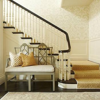 Hudson Interior Designs - entrances/foyers - jute, diamonds, stair, runner, grey, emperor, bench, damask, wallpaper, wainscoting, gray bench, gray settee, quatrefoil bench, gray quatrefoil bench, diamond stair runner, David Hicks La Fiorentina,
