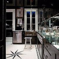Miles Redd - kitchens - glossy, black, kitchen cabinets, mirrored, countertops, backsplash, black cabinets, black kitchen cabinets, glossy black cabinets, glossy black kitchen cabinets, black kitchen, glossy black kitchen, mirror backsplash, mirrored backsplash, kitchen mirror backsplash, kitchen mirrored backsplash,